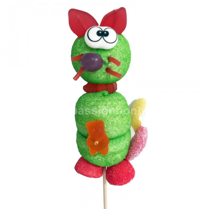 Brochette chat en bonbons