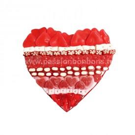 Coeur en bonbons rouge et blanc