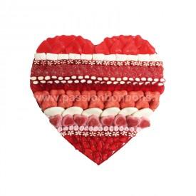 Coeur en bonbons rouge et blanc grand modèle