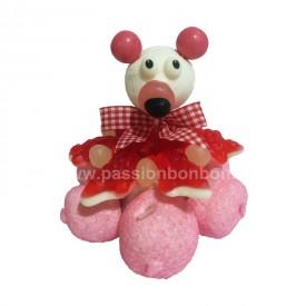 Gâteau ourson rose baptème