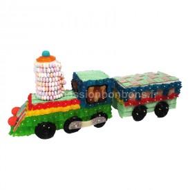 Une locomotive et son wagon en bonbons