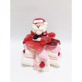 Tartelette en bonbons avec un père Noël en sucre