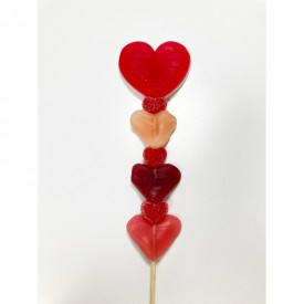 Brochette de bonbons en forme de coeur