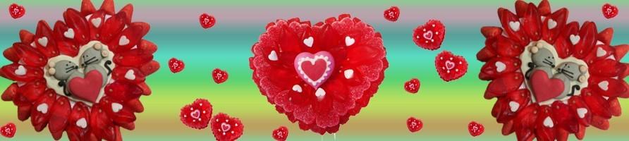 Les gâteaux de bonbons sur le thème de la Saint Valentin